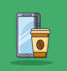 mobile phone gadget and paper coffee cup vector image