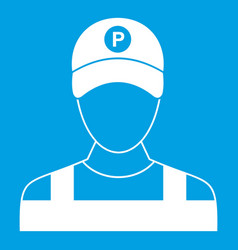 Parking attendant icon white vector