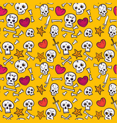 pattern with skulls and hearts bones seamless vector image vector image