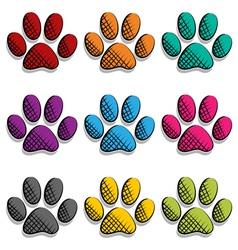 Paw print set vector image vector image