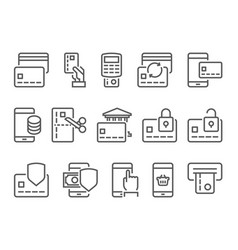 Pay on line and mobile banking line icons vector