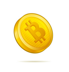 realistic golden bitcoin coin on white background vector image