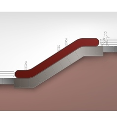 Red escalator with place for advertising side view vector
