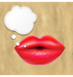 Red lips with speech bubble with retro paper vector