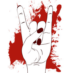 Rock hand gesture with red paint stains on white vector