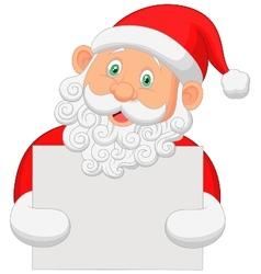 Santa cartoon holding blank sign vector image
