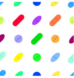 Seamless pattern with drugs pills and capsules vector