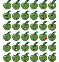 set of green apple character emojis vector image