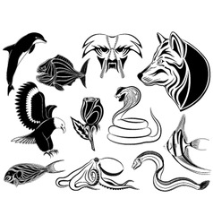 set of various tattoos vector image