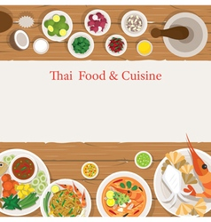 Thai food and ingredients frame vector