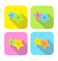 two colorful starfish flat icon with long shadow vector image vector image