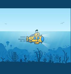 underwater yellow submarine vector image