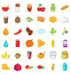 Vegan food icons set cartoon style vector