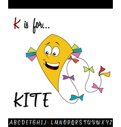 Vocabulary worksheet card with cartoon kite vector
