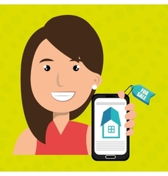 Woman house smartphone rent vector