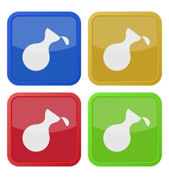 Four square color icons flask with a drop vector
