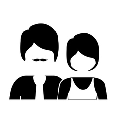 Monochrome silhouette with half body couple vector
