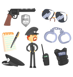professional policeman and his tools man and his vector image