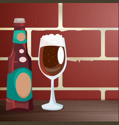Craft beer on a wooden table near a brick wall vector