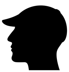 Man head silhouette with cap vector