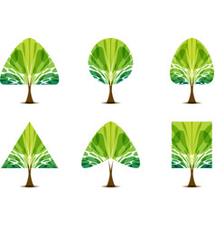 Set green tree icon with different crown shape vector