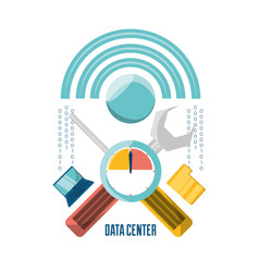 Data center connection tools with computer and vector