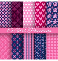 10 bright girl seamless patterns tiling pink and vector