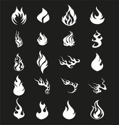 Fire flames set icons symbol vector