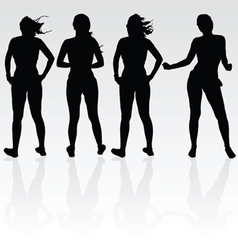 girl four silhouette black vector image