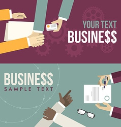 Set of flat design hand giving business ca vector
