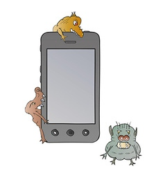 Smartphone and viruses vector