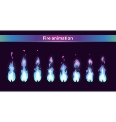 Blue fire animation sprites vector image