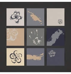 Set of nine creative paper cards hand drawn ink vector