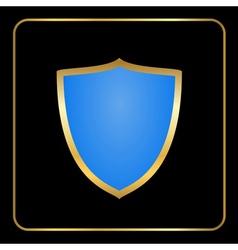 Shield gold icon black vector
