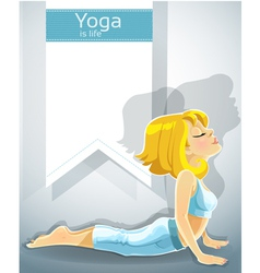 Blond girl in yoga pose bhudzhangasana bonus vector