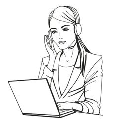A secretary with headphones vector