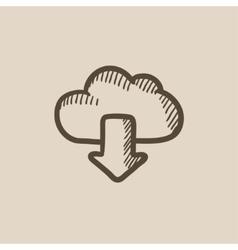 Cloud with arrow down sketch icon vector