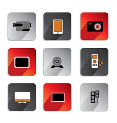 audio video icons colored vector image vector image