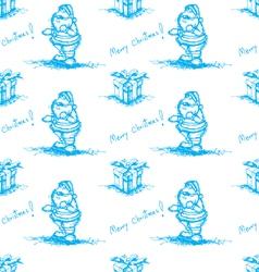 blue seamless santa claus vector image vector image