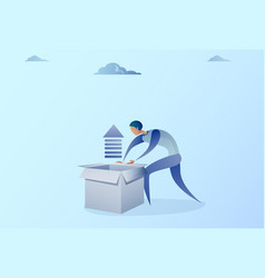 business man opening box with financial arrow up vector image vector image