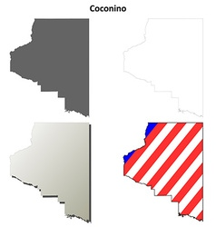 Coconino county arizona outline map set vector