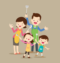 cute happy family cooking vector image
