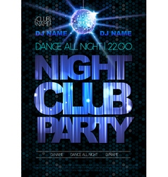 Disco background Disco poster Night club party vector image vector image