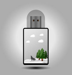 flash drive with a winter theme vector image