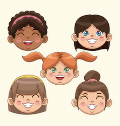 Happy children day girls face smiling cute funny vector