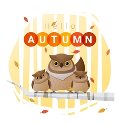 Hello autumn background with owl family vector