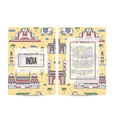 India traveling banners set in linear style vector