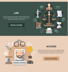 Judiciary horizontal banners collection vector