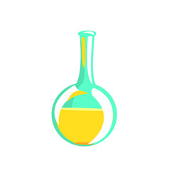 Laboratory test tube with yellow liquid part of vector