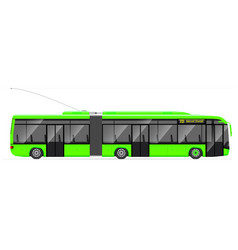 Large articulated trolleybus green with modern vector